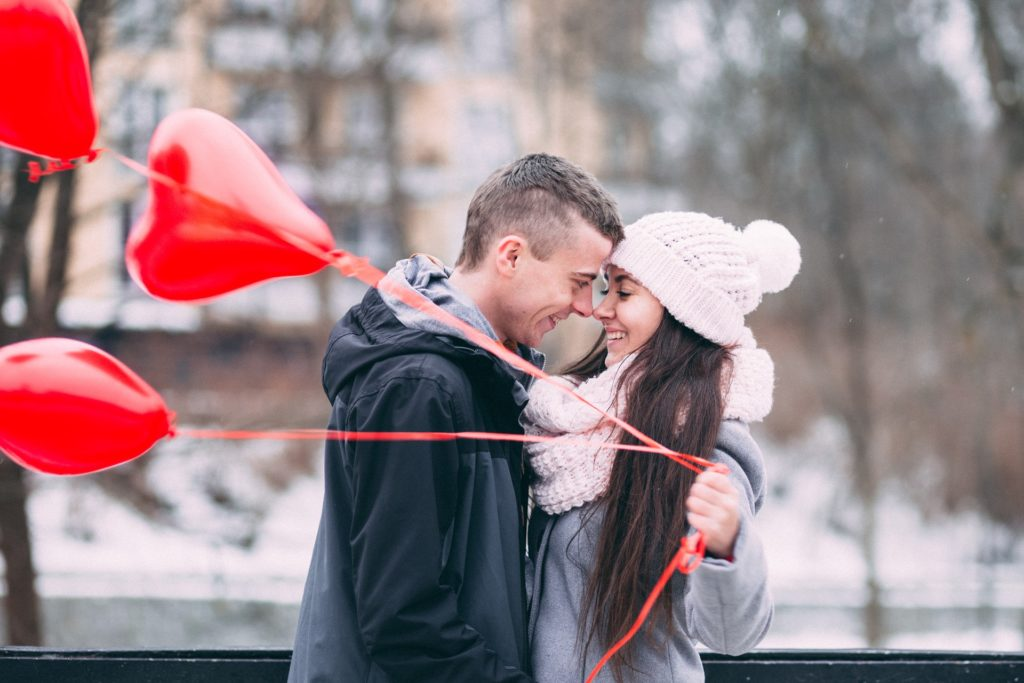 couple with love balloon