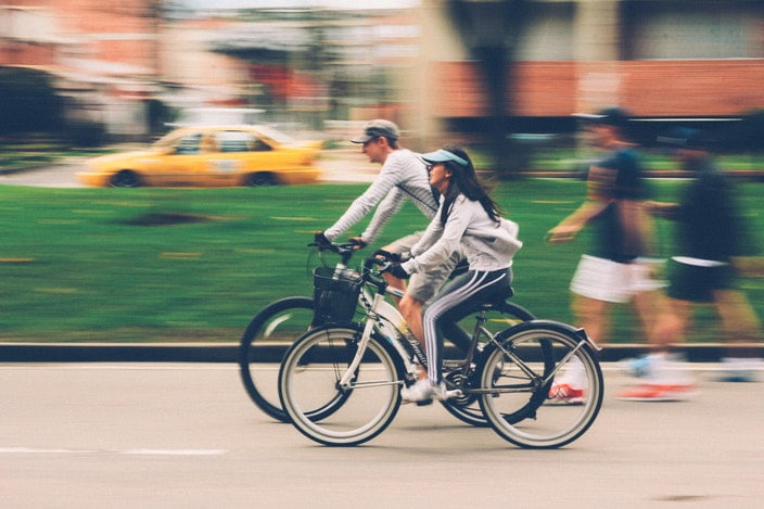 Couple bike riding